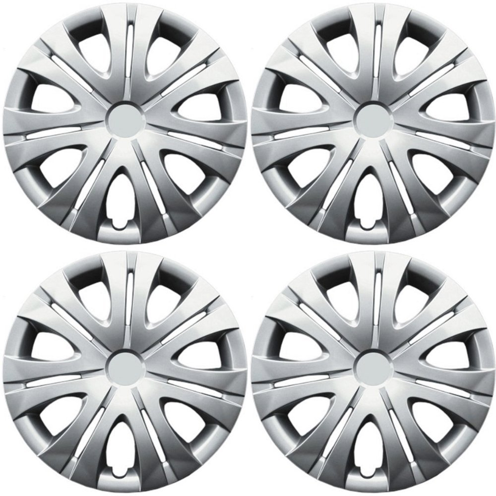 OxGord Hub-caps for 10-13 Volkswagen Jetta (Pack of 4) Wheel Covers 16 inch Snap On Silver
