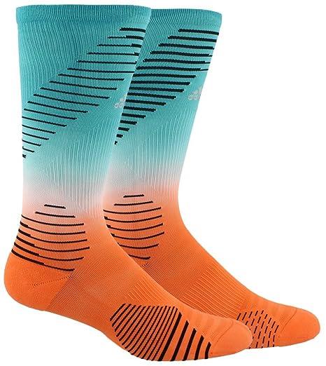 adidas Running Over the Calf Socks (1 Pack), Hi Res AquaHi Res OrangeBlackSilver Reflective, Large
