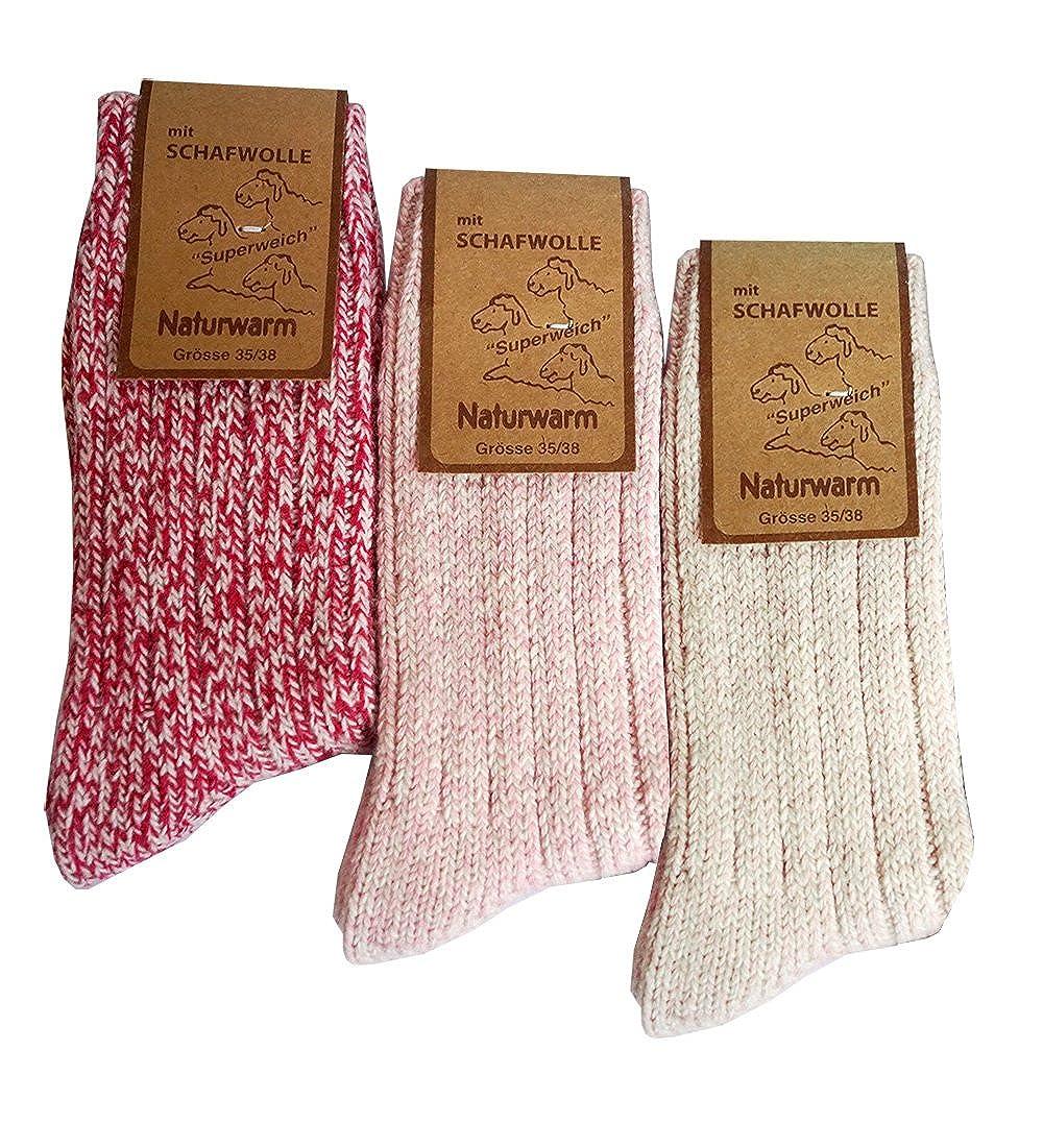 etrado fashion 3 Kuschelige weiche Norwegersocken mit Schafswolle in verschiedenen Farben von dunaro