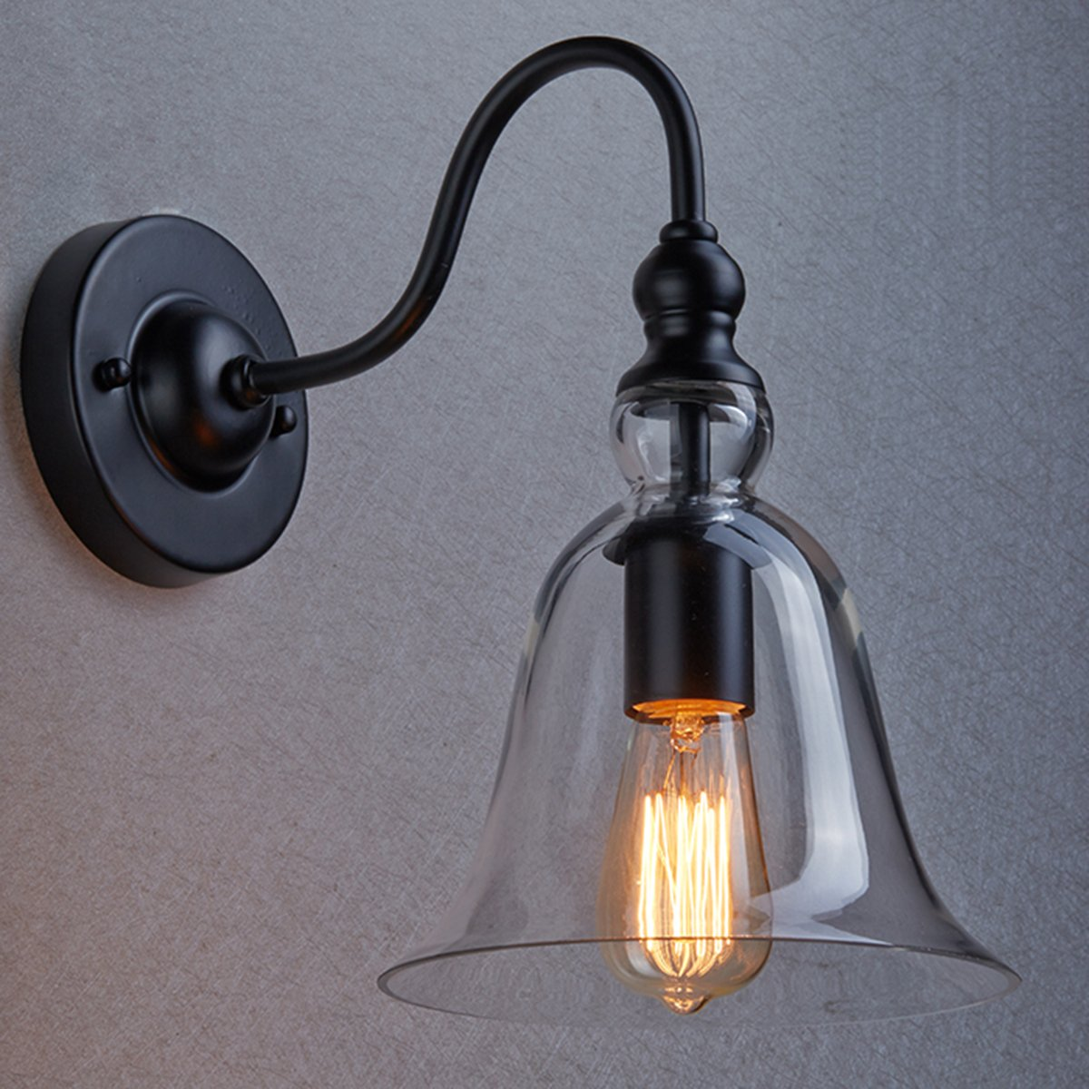 Claxy Ecopower Vintage Wall Mount Lighting 1 Light Glass Bell Shade