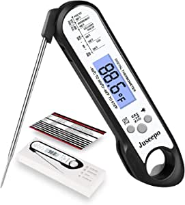 Juseepo Instant Read Waterproof Meat Thermometer - 2s Instant Read Ultra Fast Cooking Thermometer with Backlight & Calibration.Best Kitchen Food Thermometer for Cooking, Outdoor Grill and BBQ《Black 》