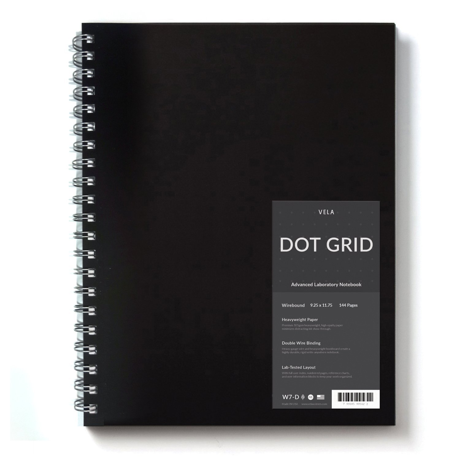Vela Advanced Wirebound Laboratory Notebook / 9 x 11.75 inches / 144 Pages/Reinforced Double Wire Binding/Wear-Resistant Nylon Coated Cover / 105gsm Heavyweight Paper (Dot Grid)