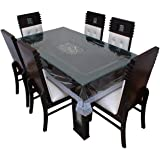 Bryant 6 Seater Transparent Table Cover with Silver Lace (60 X 90 Inches)