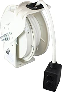 product image for KH Industries RTB Series ReelTuff Power Cord Reel, 12 AWG 3 conductor SEOW White Cable and Four Receptacle Outlet Box, 20 Amp, 25' Length, White Powder Coat Finish