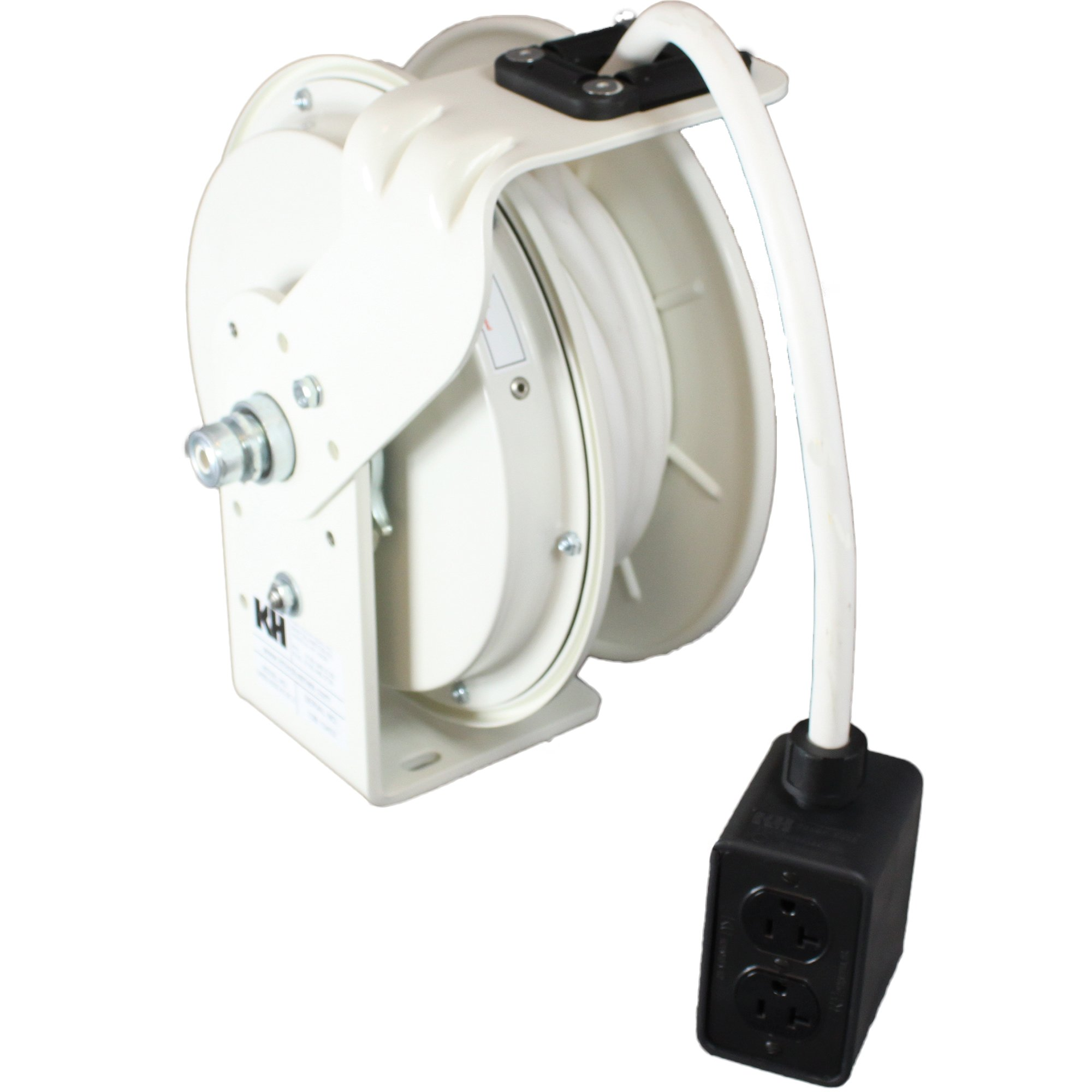 KH Industries RTB Series ReelTuff Power Cord Reel, 12/3 SJOW White Cable and Four Receptacle Outlet Box, 20 Amp, 25' Length, White Powder Coat Finish