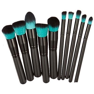 10X CAOLATOR Maquillaje de Lujo del Sistema de Cepillo Maquillaje Juego de Mango de Madera Brochas Cosméticos Herramientas(Negro)