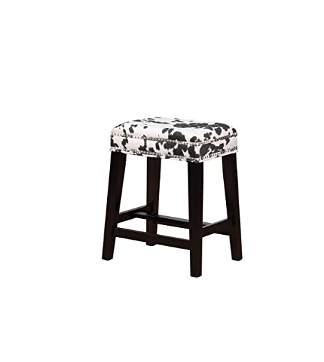 Cool Amazon Com Linon Walt Black Cow Print Counter Stool Home Dailytribune Chair Design For Home Dailytribuneorg