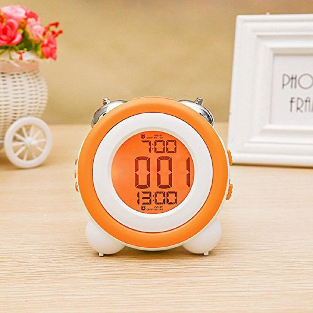 Jinon Stay-In-Bed Light Clock, Kids Alarm Clock,Double Bell Alarm Clock With Snooze for Kids, Students,Teaches Child When Ok-to Wake Up (Orange)