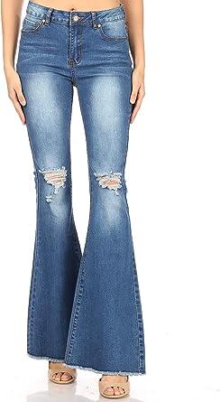Amazon Com Fashion2love Pantalones Vaqueros Acampanados Para Mujer Clothing