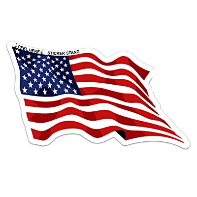 Waving American Flag Sticker: Automotive