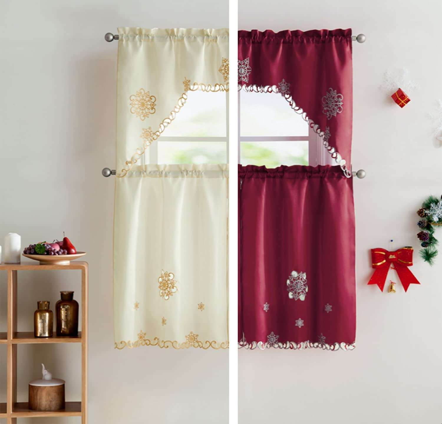 VCNY Home Starburst Christmas Kitchen Curtain Tier & Swag Set - Assorted Colors (Burgundy/Grey)