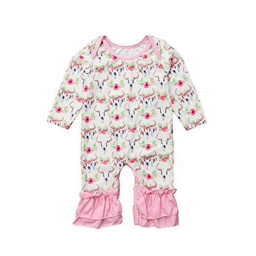 4ab00cfb7d59 Newborn Baby Girls Soft Floral Cow Skull Print Romper Long Sleeve Ruffle  Jumpsuit Playsuit Clothes Outfit