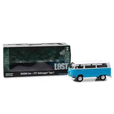 1971 Volkswagen Type 2 (T2B) Dharma Van Blue with White Top Lost (2004-2010) TV Series 1/24 Diecast Model by Greenlight 84033: Toys & Games