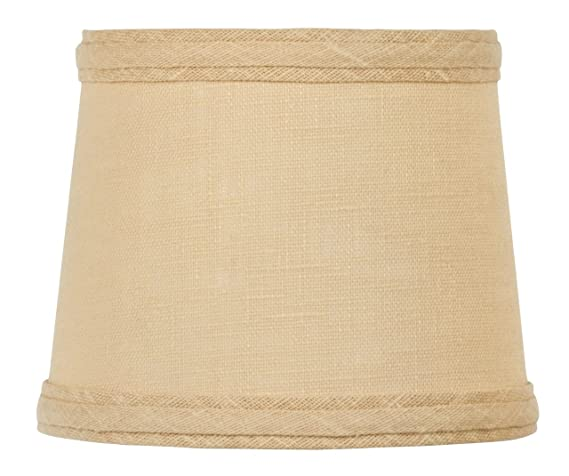 Upgradelights Sand Linen 6 Inch Drum Style Clip On Chandelier Mini