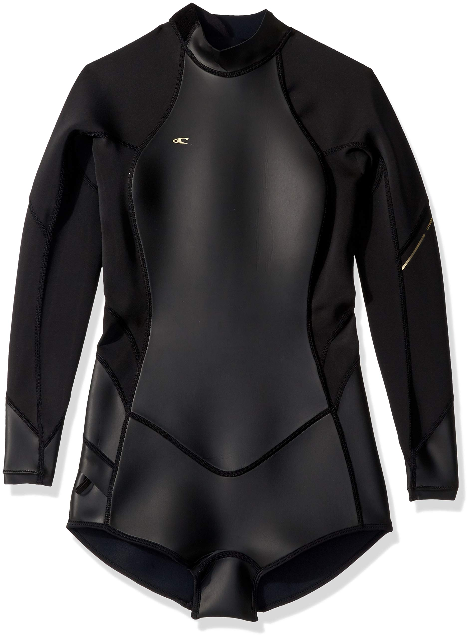 O'Neill Wetsuits Women's Bahia 2/1mm Back Zip Long Sleeve Short Spring, Glide Black/Black/Black, Size 4