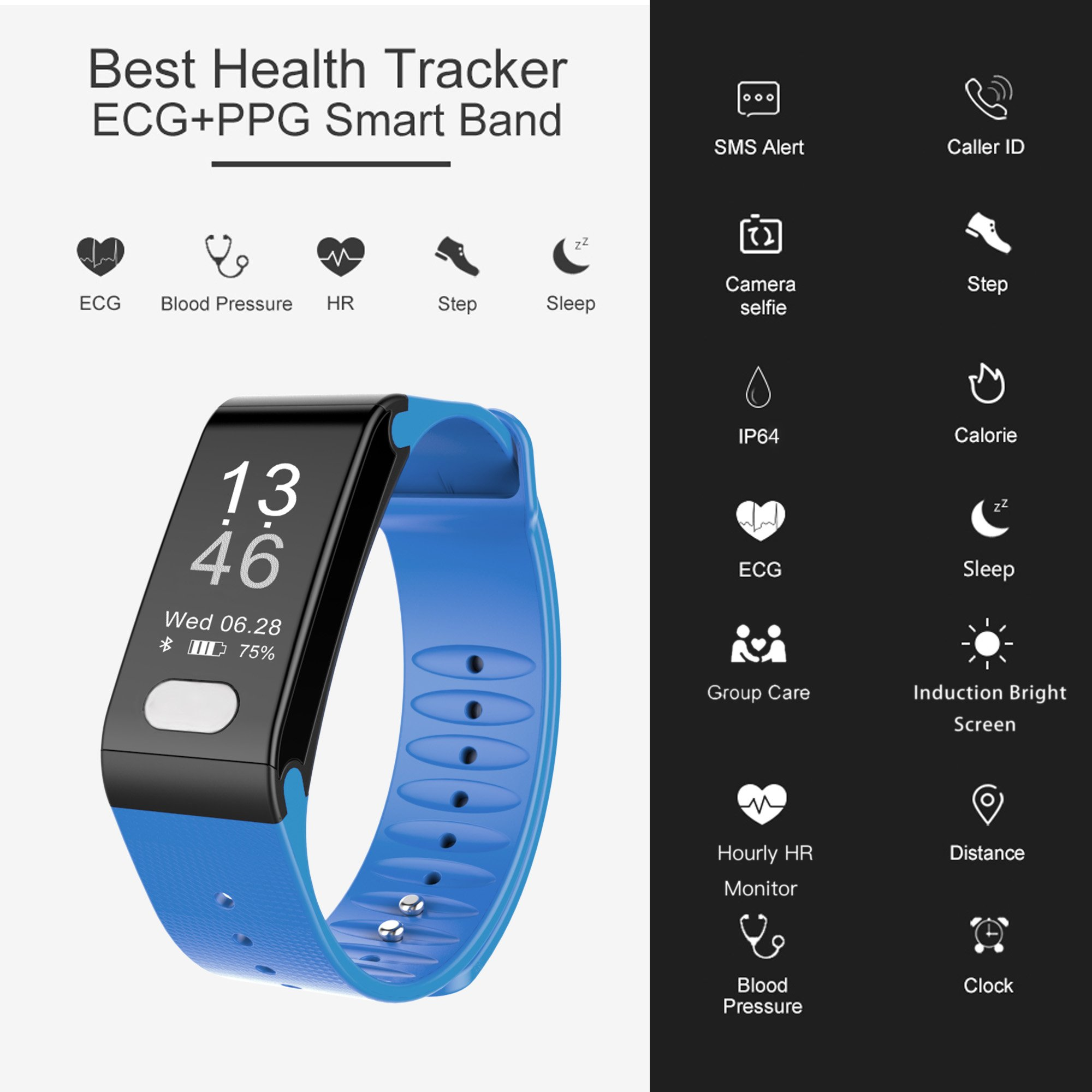 Fitplus Fitness Tracker with Heart Rate Monitor,Waterproof Fitness Watch,Smart Band,Pedometer Activity Tracker,Smart Bracelet with Blood Pressure Monitor,Sleep Monitor,Step Calorie Distance Counter