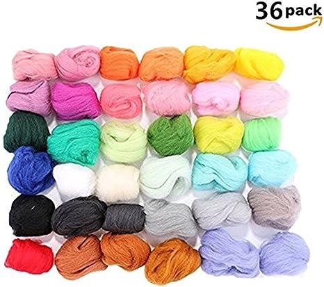 WIN 36 colores, de lana de fieltro lana itinerantes lana Spinning ...