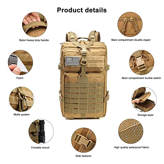 b47ef59d37f4 Roaring Fire Tactical Backpack Water Resistant. Molle Attachment Points and  Rugged Construction for the Outdoor, Hiking, 3 Day Pack, Bug out bag, ...
