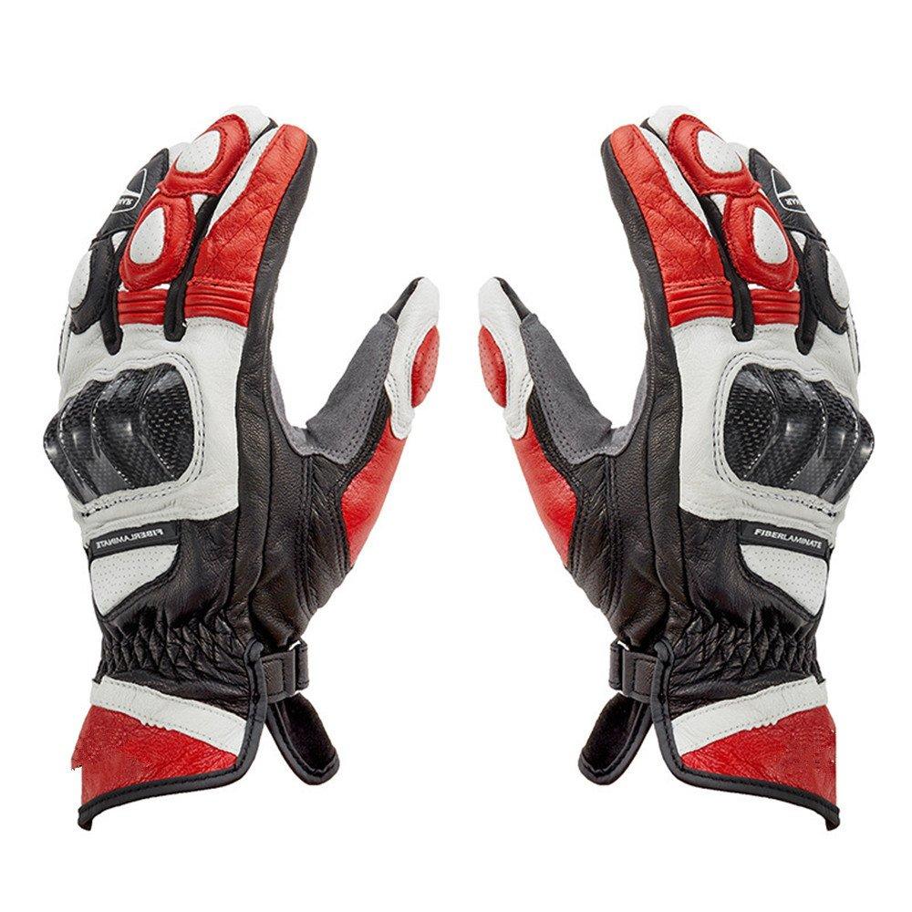 QARYYQ Winddichte Motorradhandschuhe, Vier Jahreszeiten, Leder, Anti-Fall, Motorrad-Reithandschuhe, Rot Handschuh (größe   M)