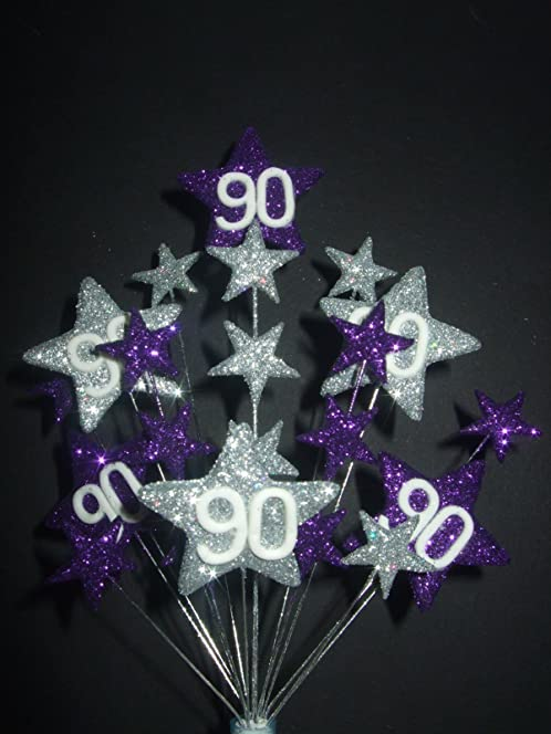 STAR AGE 90TH BIRTHDAY CAKE TOPPER IN PURPLE AND SILVER Amazonco