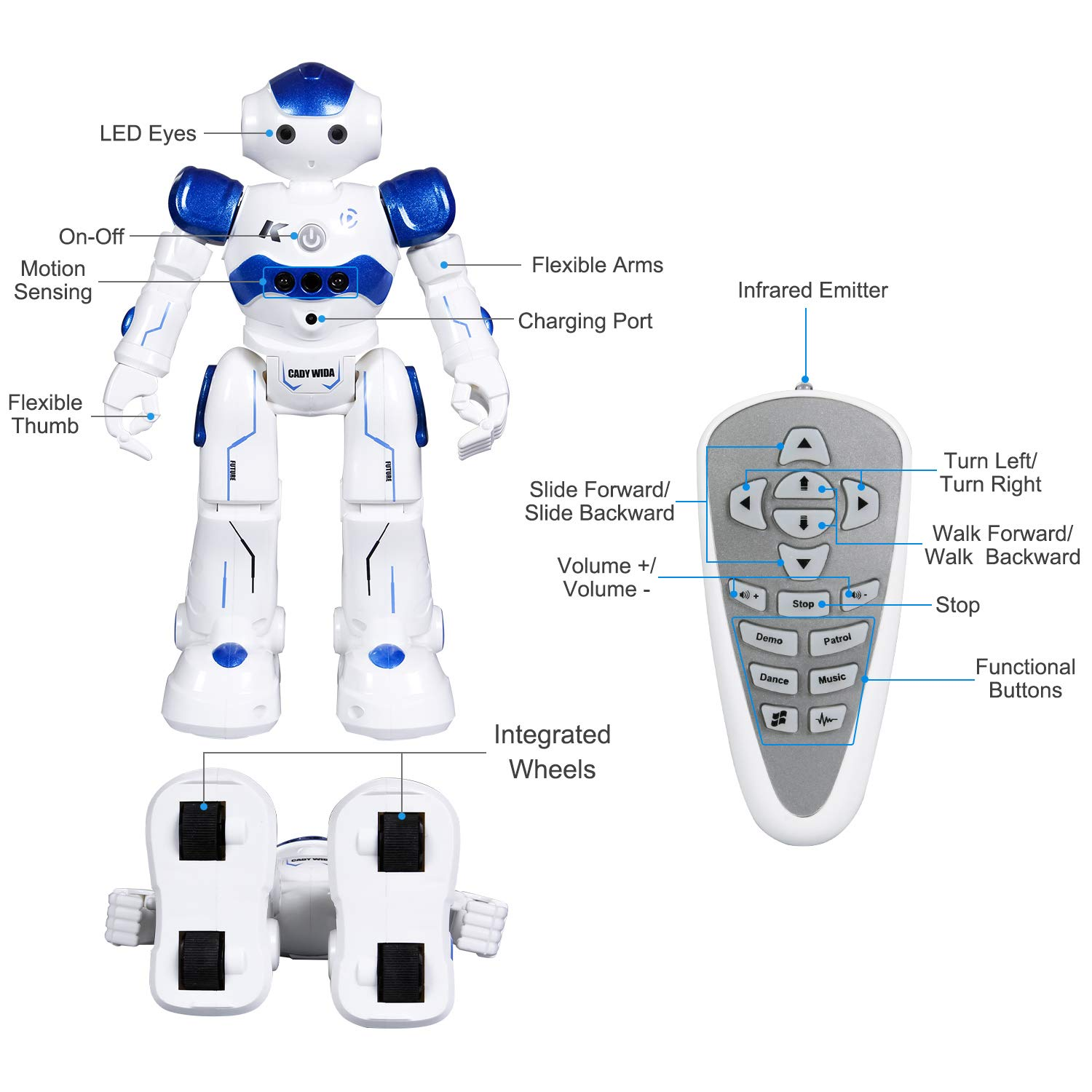 SGILE Remote Control Robot, RC Programmable Educational Robot for Kids Birthday Gift Present, Interactive Walking Singing Dancing Smart Intelligent Robotics for Kids Boy, Blue by SGILE (Image #4)