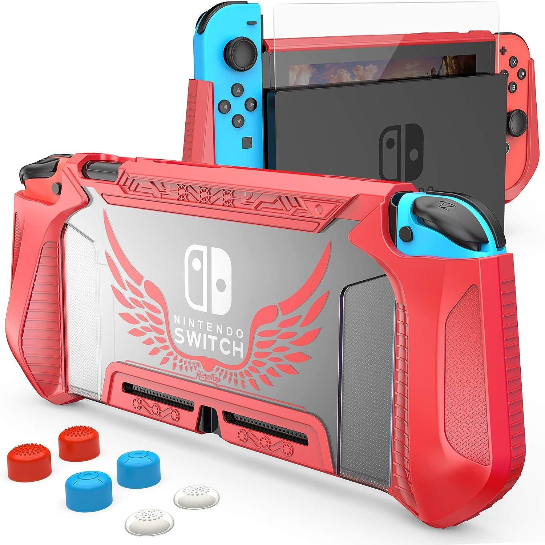 Funda y protector de pantalla para Nintendo Switch (Rojo)