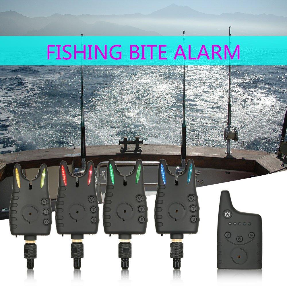 Lixada Alarma de Pesca Inalámbrico Digital Kit 4pcs Alarmas ...