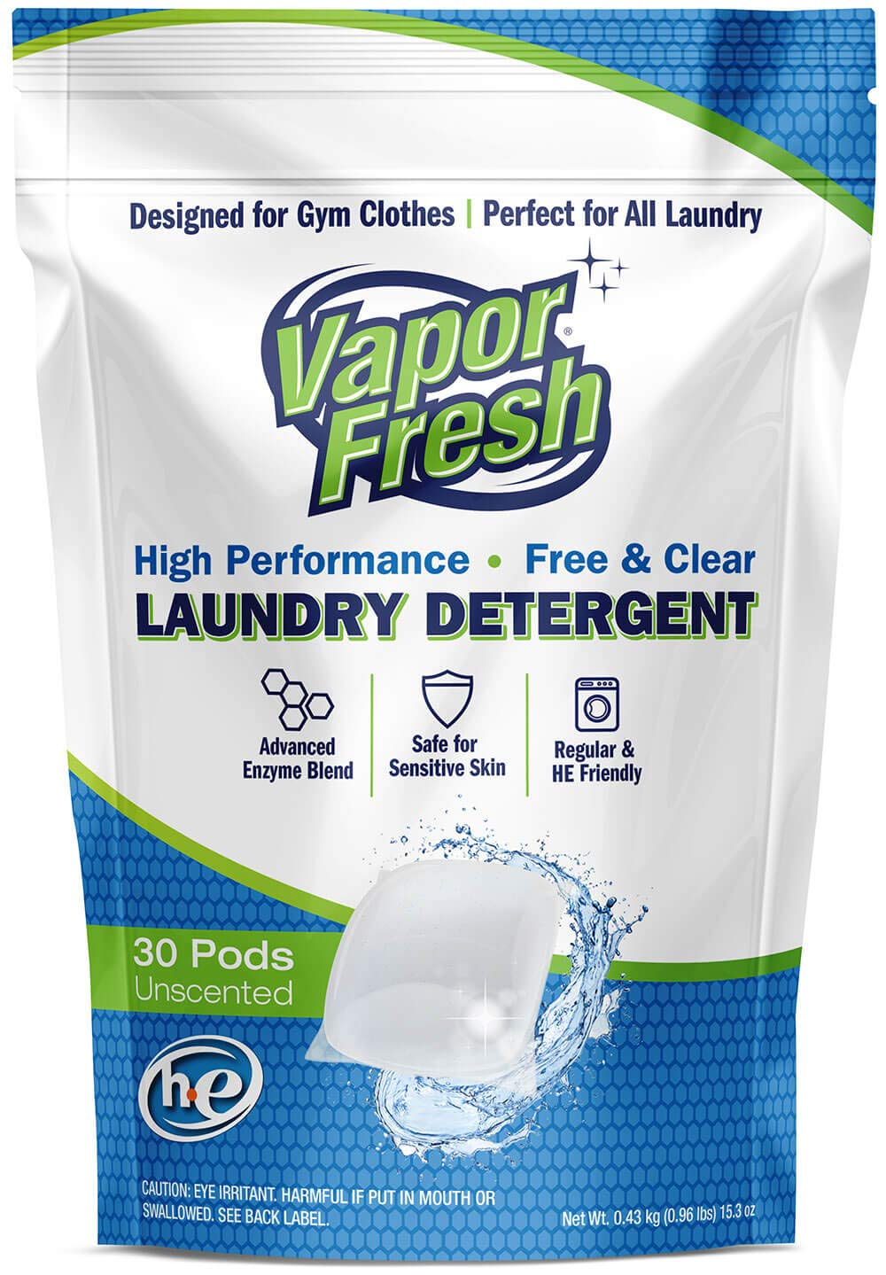 Vapor Fresh Laundry Detergent Pods - 30 Loads - Free and Clear - Unscented - HE Safe - Cold Water Enzymes - Ideal Laundry Soap for Sports and Activewear - 30 Pacs