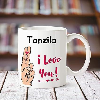 e9ae6fe38be Buy Huppme I Love You Tanzila Printed Personalized Coffee Mug, 350 ...