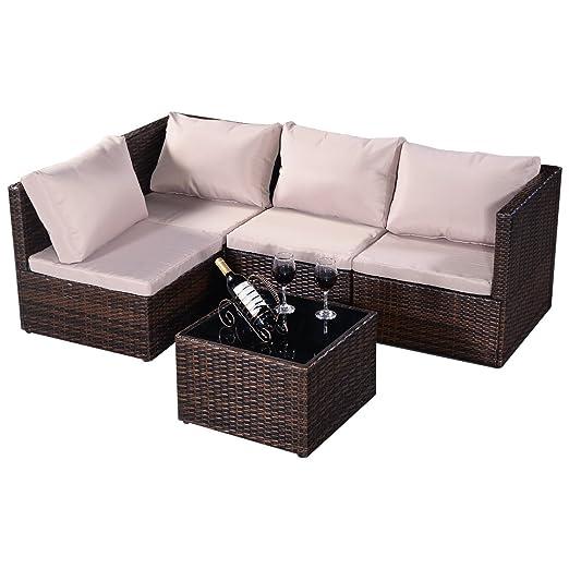 Blitzzauber24 Conjunto de 5pcs muebles de jardín de ratán Mesa con ...