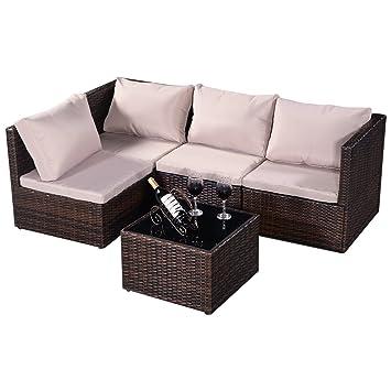 Conjunto de 5pcs muebles de jardín de ratán Mesa con vidrio+Sofás + ...