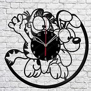 Vinyl Clock - Garfield and Odie - Handmade Wall Clock - Vinyl Art Home Decor - Unique Vinyl Record Wall Clock - Custom Exclusive Vinyl Record Clock - Original Gift Idea