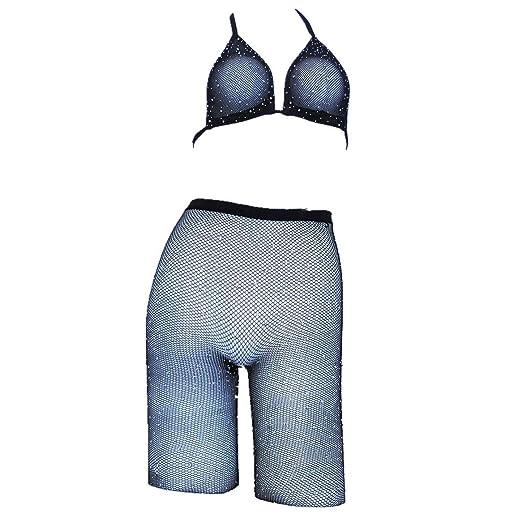 b4cd6937a2 Rhinestone Fishnet Diamond Beach Cover Up Sexy Women See Through Hollow Out  Mesh Halter Crop Top