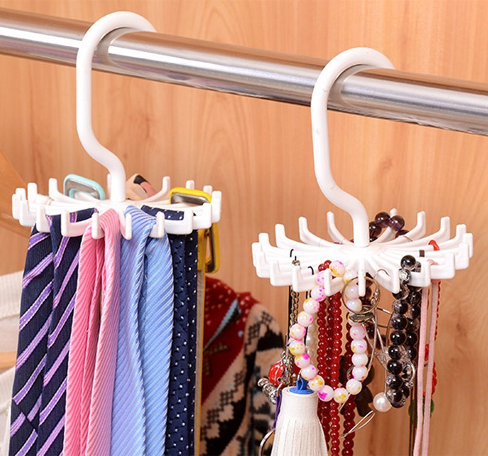 Wishesport Twirl Tie Rack Belt Hanger Holder Hook for Closet Organizer Storage 2 Pcs, (White)