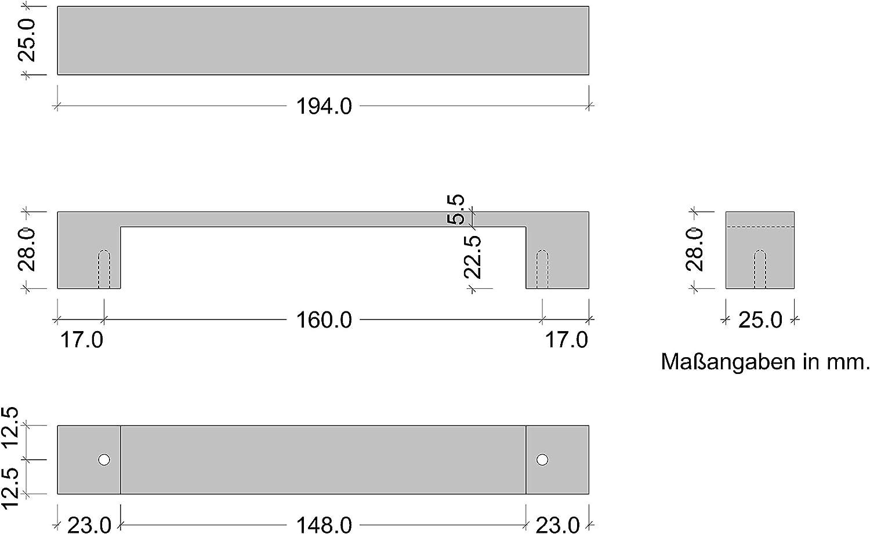 1 pi/èce Poign/ée de tiroir chrom/ée polie Poign/ée de placard solide Gedotec Poign/ée de meublechrom/ée 160 mm coin barre LEXUS pour tiroir de cuisine et portes de placard 169 x 9 x 160 mm