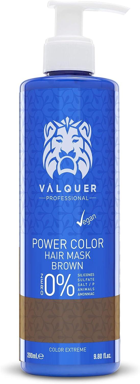 Válquer Professional Mascarilla Power Color cabellos teñidos. Vegano y sin sulfatos (Cabello castaño). Potenciador color pelo- 275 ml