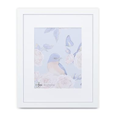 16x20 White Picture Frame Matted - Display 11x14 Pictures with mat or 16x20 with Out a mat - Wide molding, Frames by EcoHome