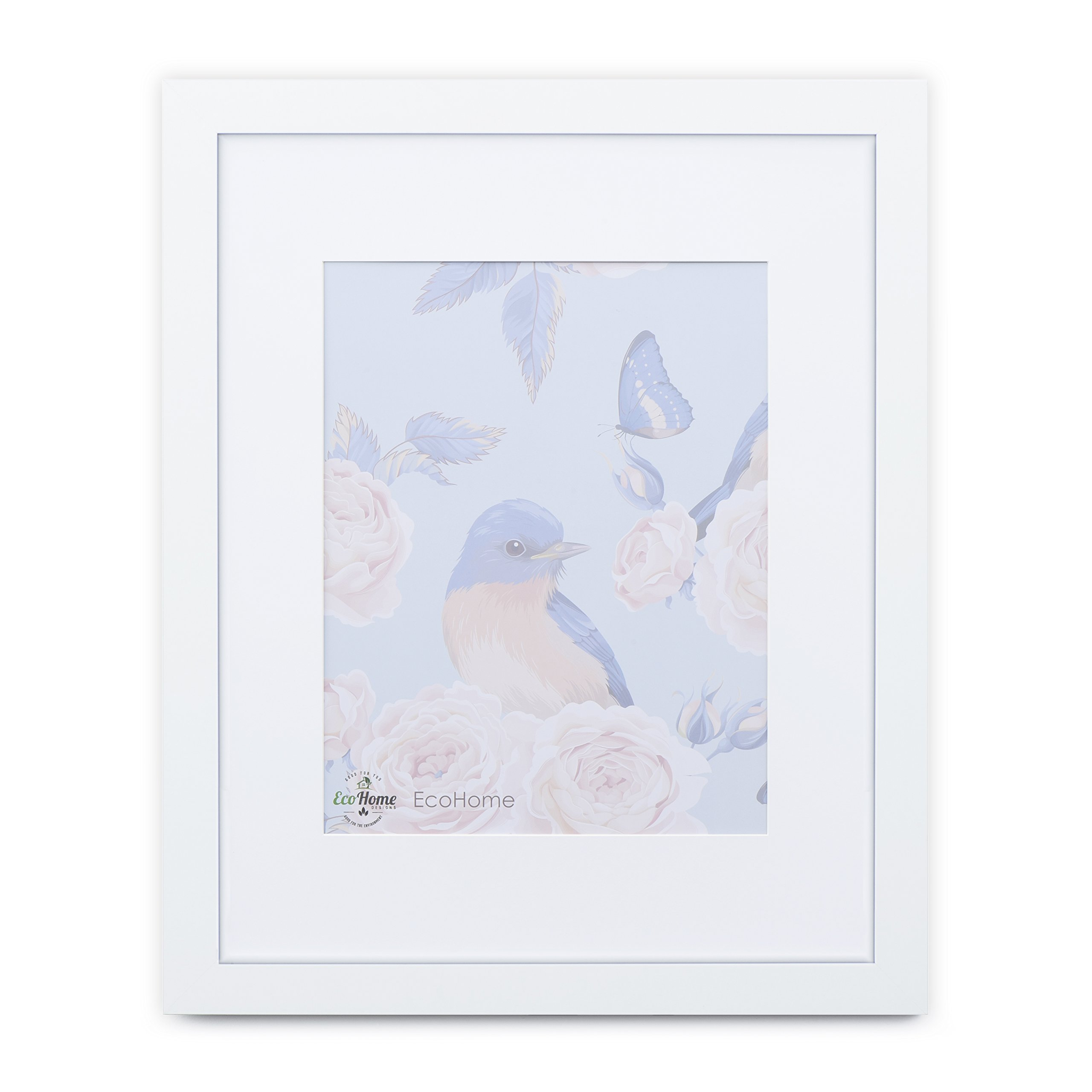 12x16 White Picture Frame - Matted to 8x12 Frames by EcoHome
