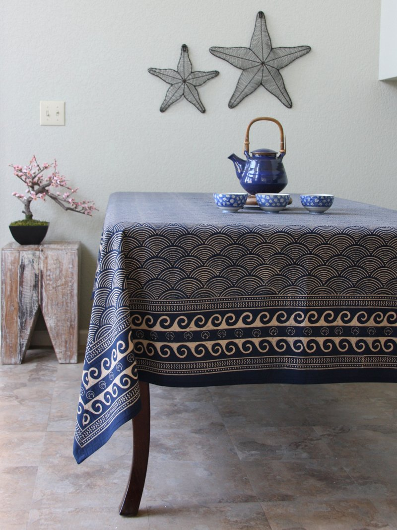 Amazon.com: Pacific Blue ~ Rustic Navy Blue Ocean Oriental Asian Tablecloth  70x120: Home U0026 Kitchen