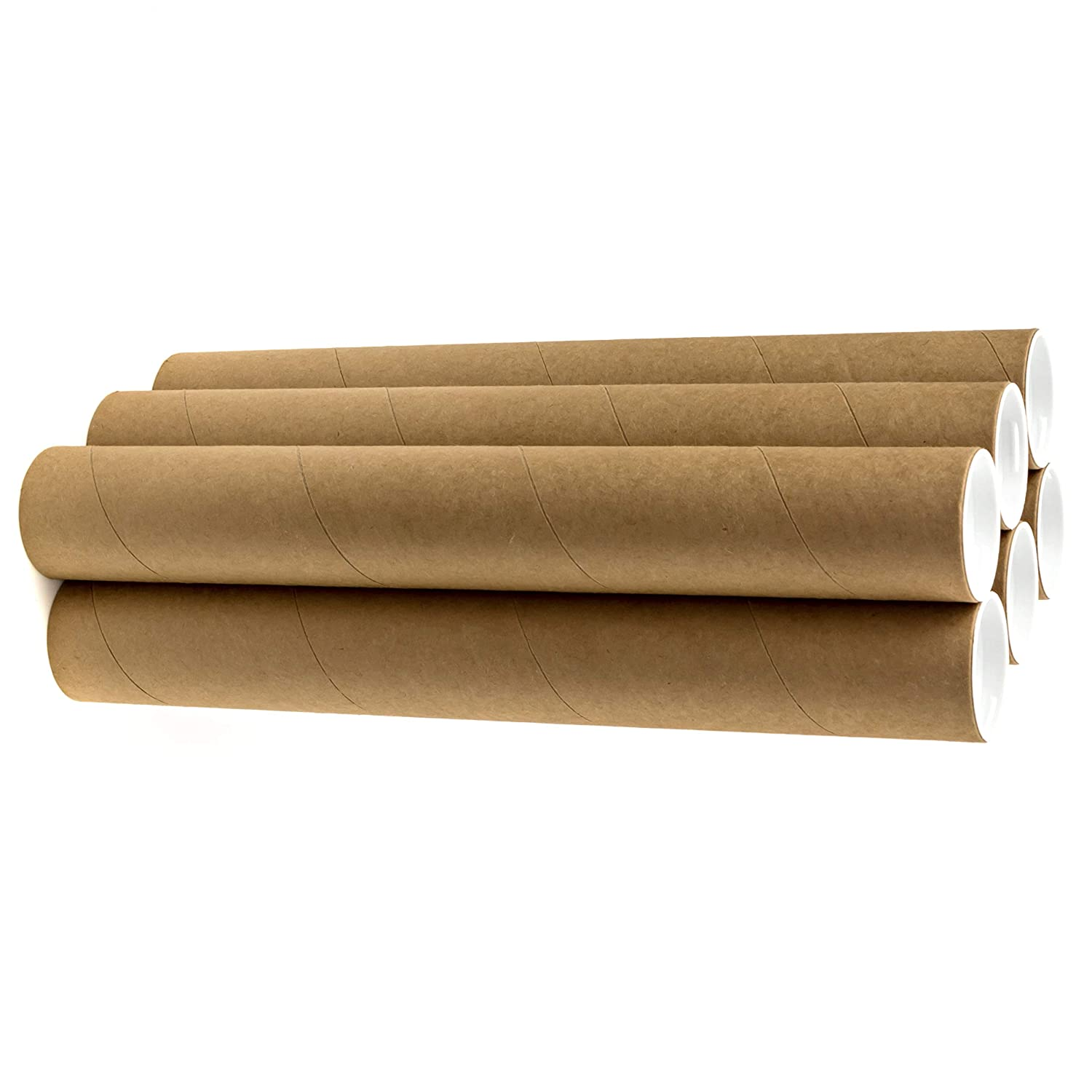 2 x 18 Cardboard Mailing Tubes - 6 Pack with White Caps, Poster Tubes, Document Tubes, Shipping Tubes for Storage, Mailing, and Protecting Your Art, Drawings, Posters & Prints Precision Cardboard Co.