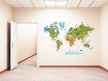 Buy rawpockets decal world map with world animals large size wall rawpockets decal world map with world animals large size wall sticker wall coverage area 65 gumiabroncs Image collections