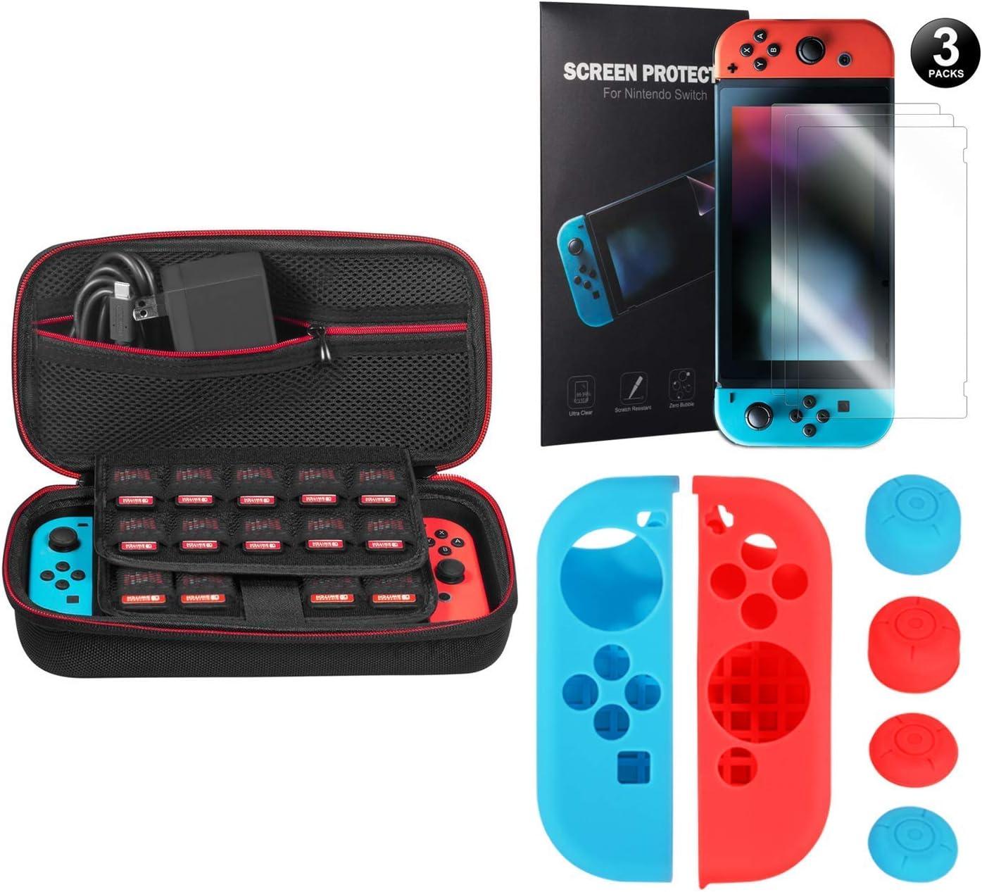 Younik kit de accesorios 5 en 1 para Nintendo Switch, incluye una funda de transporte para Nintendo Switch / Agarre para control Joy-con / Protector de pantalla HD (3 paquetes): Amazon.es: Videojuegos