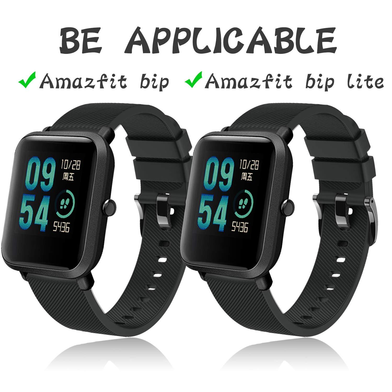 Th-some Correa para Amazfit Bip Impermeable Universal - Reemplazo de Pulsera Ajustable para Xiaomi Huami Amazfit Bip bit Lite Youth Watch, Negro Sin ...