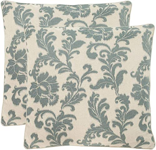 Safavieh Pillow Collection 22-Inch Acanthus Leaves Pillow, Ivory and Slate, Set of 2