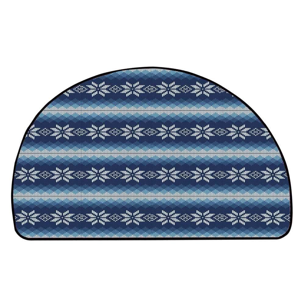 C COABALLA Winter Comfortable Semicircle Mat,Traditional Scandinavian Needlework Inspired Pattern Jacquard Flakes Knitting Theme Decorative for Living Room,39.3'' H x 78.7'' L