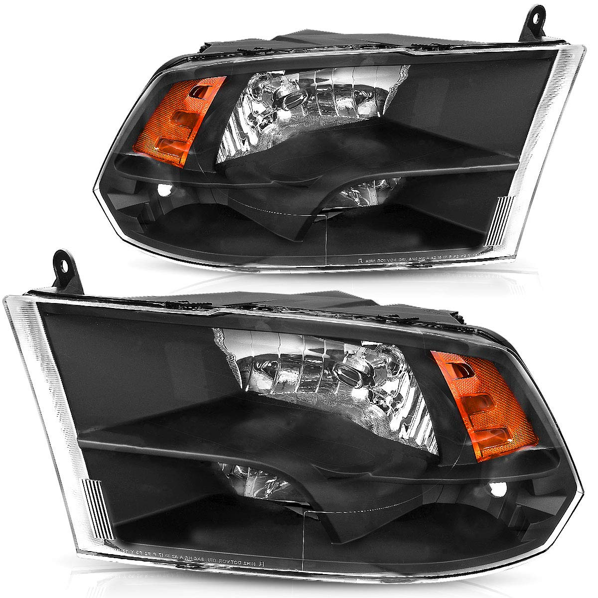 Headlights Replacement for 2009-2018 Dodge Ram 1500 2500 3500 Pickup Headlamp Assembly Black