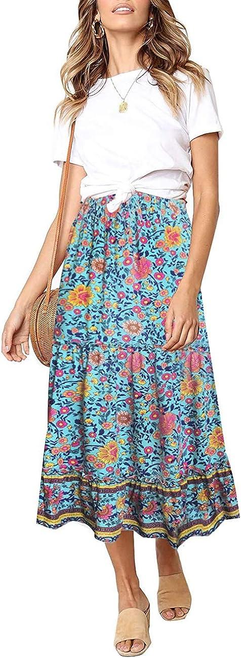 MEROKEETY Women's Boho Floral Print Elastic High Waist Pleated A Line Midi Skirt with Pockets