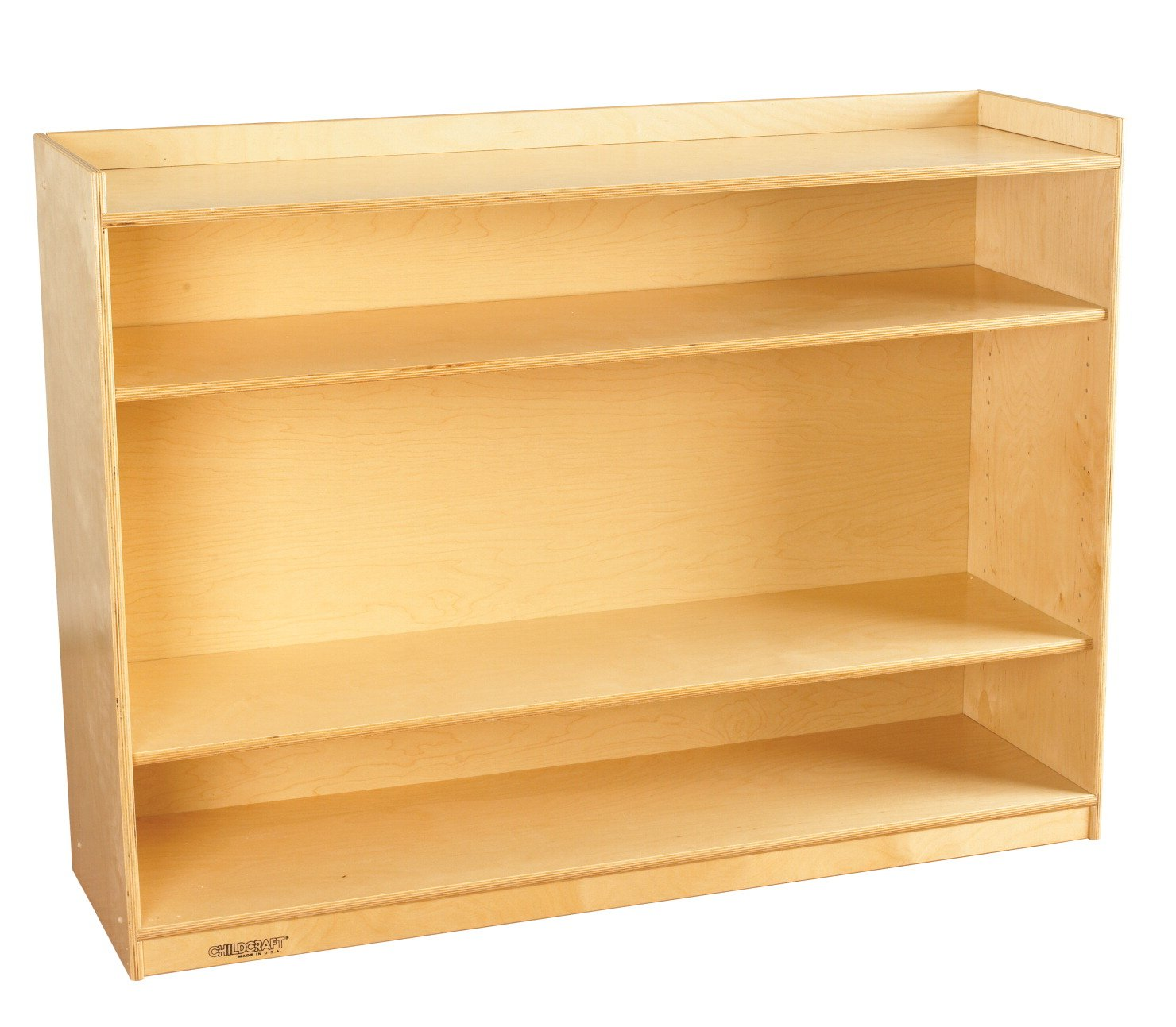 Childcraft 1464172 Adjustable Mobile Book Case with Lip, 2-Shelf, Wood, 47-3/4'' x 14-1/4'' x 36'', Natural Wood Tone