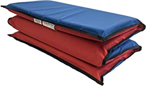 """KinderMat, EnduroMat 2"""" Thick Rest Mat, 4-Section Rest Mat, 48"""" x 24"""" x 2"""", Red/Blue with Black Binding, Great for School, Daycare, Travel, and Home, Made in The USA"""