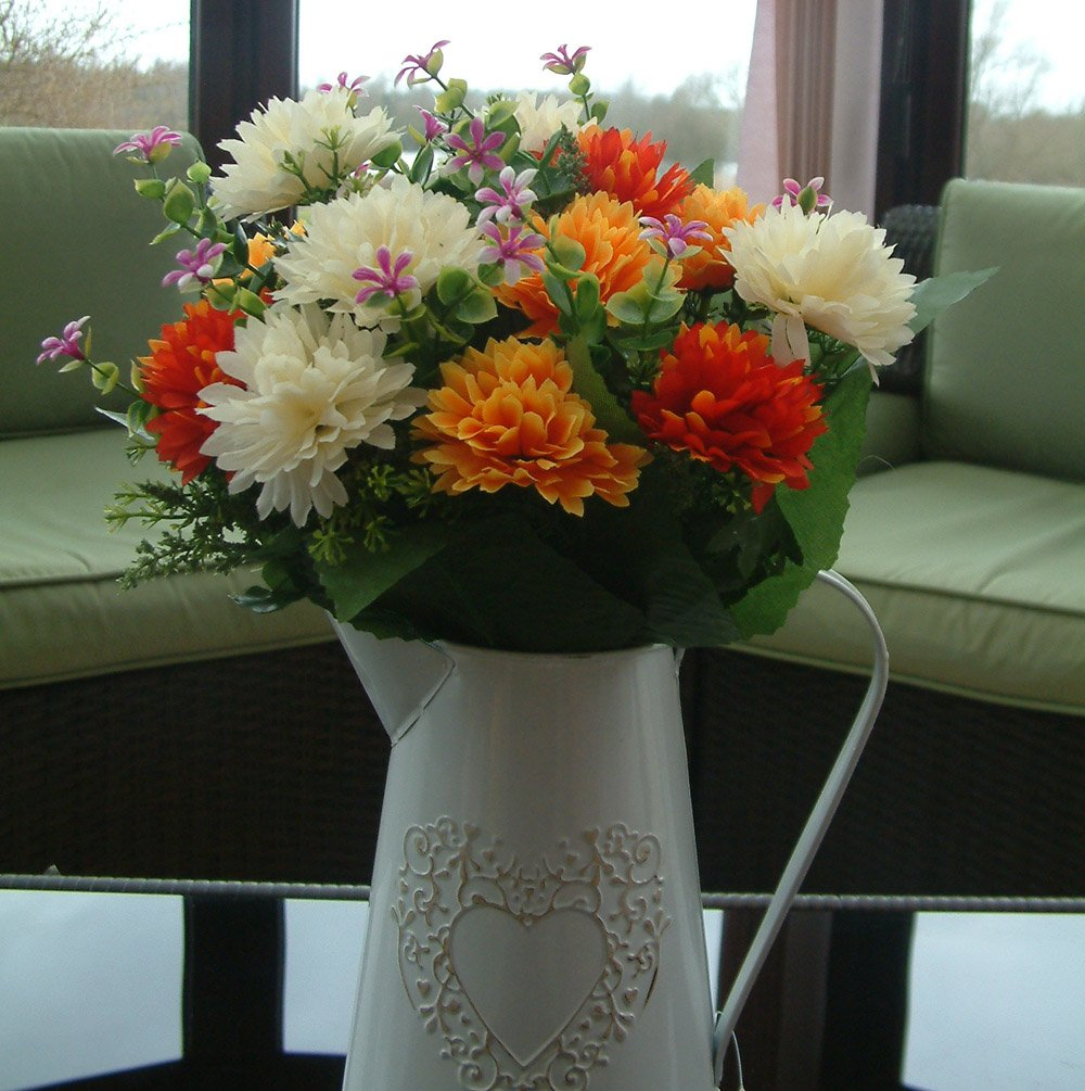 ARTIFICIAL FLOWERS - 41cm SPIKEY CHRYSANTHEMUM MIXED BUSH ORANGE / YELLOW / RED / IVORY